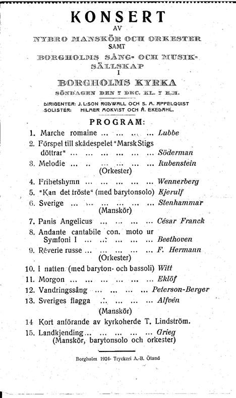 Programblad 7:e december 1924