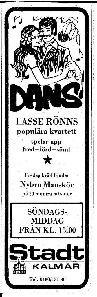 Tidningsannons Stadt Kalmar